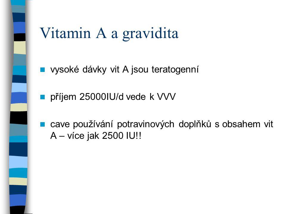 Vitamin A a gravidita vysoké dávky vit A jsou teratogenní příjem 25000IU/d vede k VVV cave používání potravinových doplňků s obsahem vit A – více jak