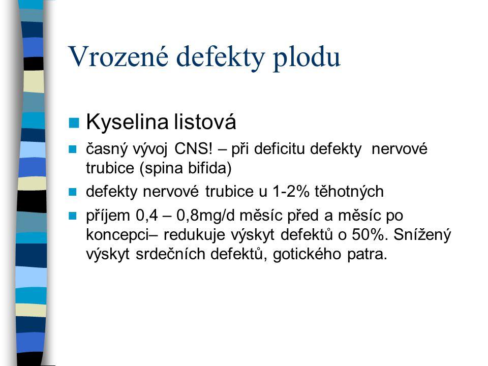 Vrozené defekty plodu Kyselina listová časný vývoj CNS! – při deficitu defekty nervové trubice (spina bifida) defekty nervové trubice u 1-2% těhotných