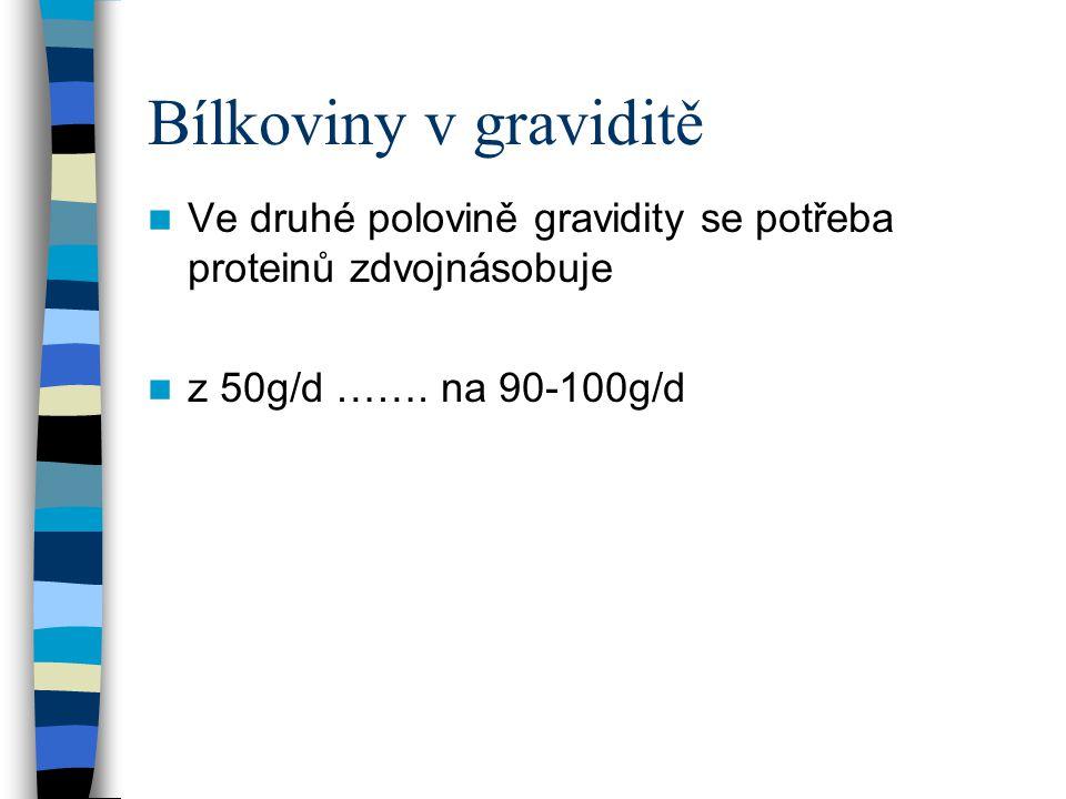 Bílkoviny v graviditě Ve druhé polovině gravidity se potřeba proteinů zdvojnásobuje z 50g/d ……. na 90-100g/d