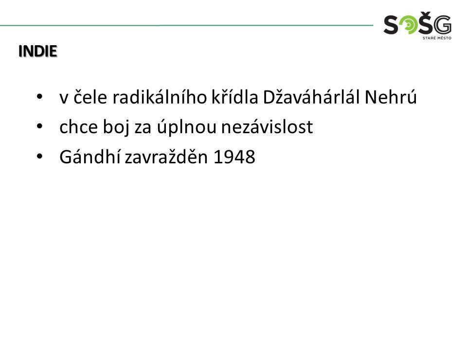 Kolonialismus v čele radikálního křídla Džaváhárlál Nehrú chce boj za úplnou nezávislost Gándhí zavražděn 1948 INDIE