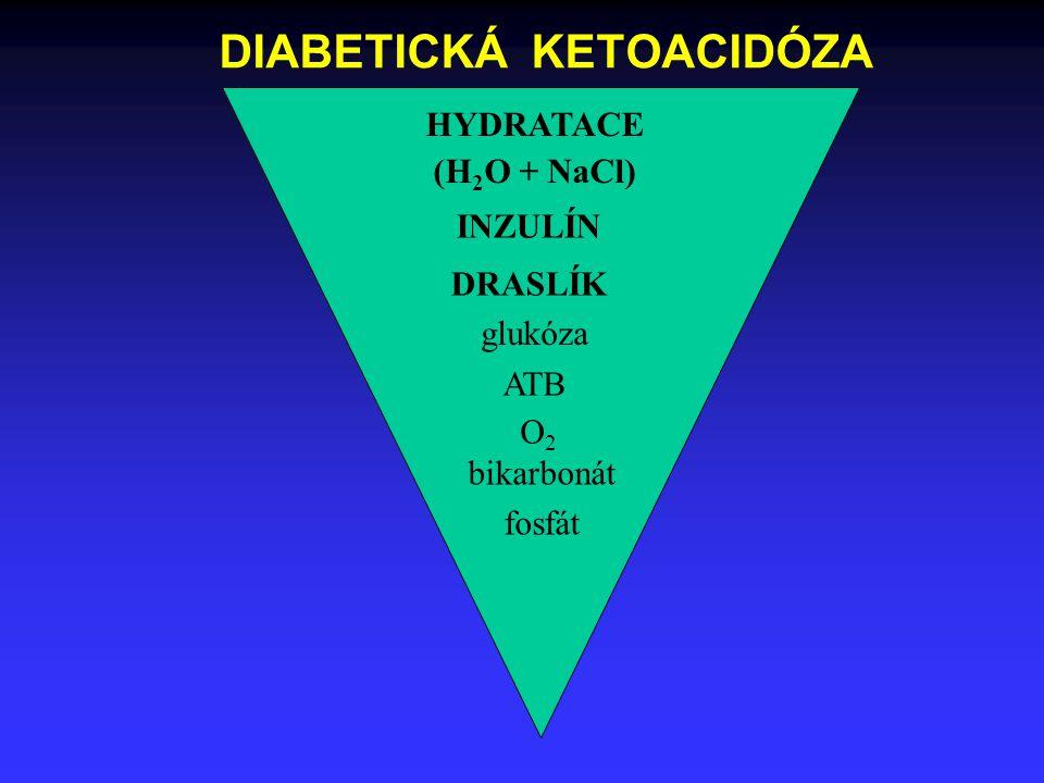 HYDRATACE (H 2 O + NaCl) INZULÍN DRASLÍK glukóza ATB O2O2 bikarbonát fosfát