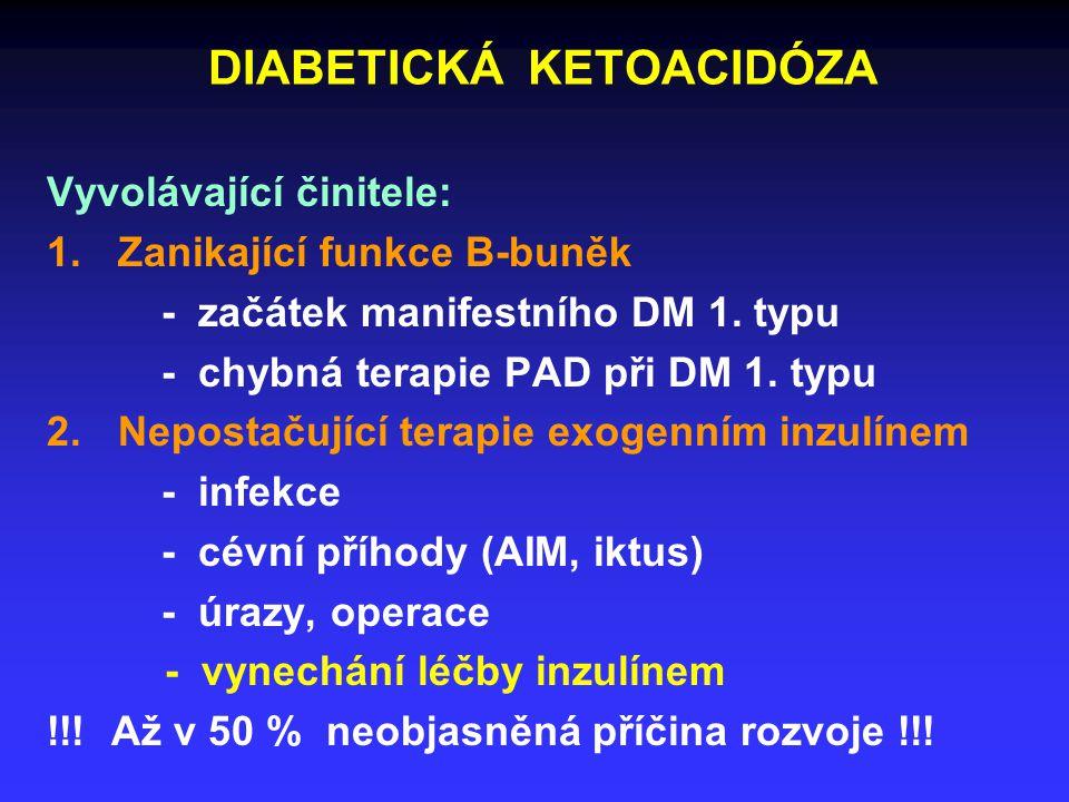 DIABETICKÁ KETOACIDÓZA Vyvolávající činitele: 1.Zanikající funkce B-buněk - začátek manifestního DM 1.