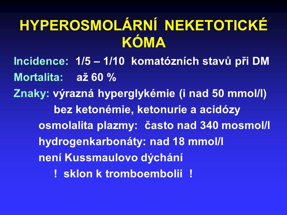 HYPEROSMOLÁRNÍ NEKETOTICKÉ KÓMA Incidence: 1/5 – 1/10 komatózních stavů při DM Mortalita: až 60 % Znaky: výrazná hyperglykémie (i nad 50 mmol/l) bez ketonémie, ketonurie a acidózy osmolalita plazmy: často nad 340 mosmol/l hydrogenkarbonáty: nad 18 mmol/l není Kussmaulovo dýchání .