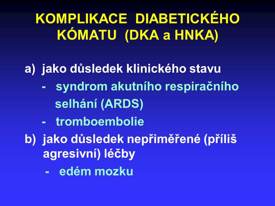 KOMPLIKACE DIABETICKÉHO KÓMATU (DKA a HNKA) a) jako důsledek klinického stavu - syndrom akutního respiračního selhání (ARDS) - tromboembolie b)jako důsledek nepřiměřené (příliš agresivní) léčby - edém mozku