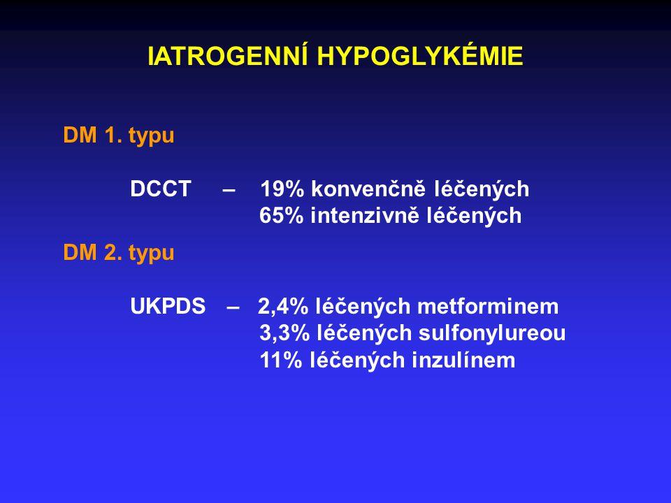 IATROGENNÍ HYPOGLYKÉMIE DM 1. typu DCCT – 19% konvenčně léčených 65% intenzivně léčených DM 2.