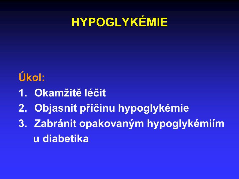HYPOGLYKÉMIE Úkol: 1.Okamžitě léčit 2.Objasnit příčinu hypoglykémie 3.Zabránit opakovaným hypoglykémiím u diabetika
