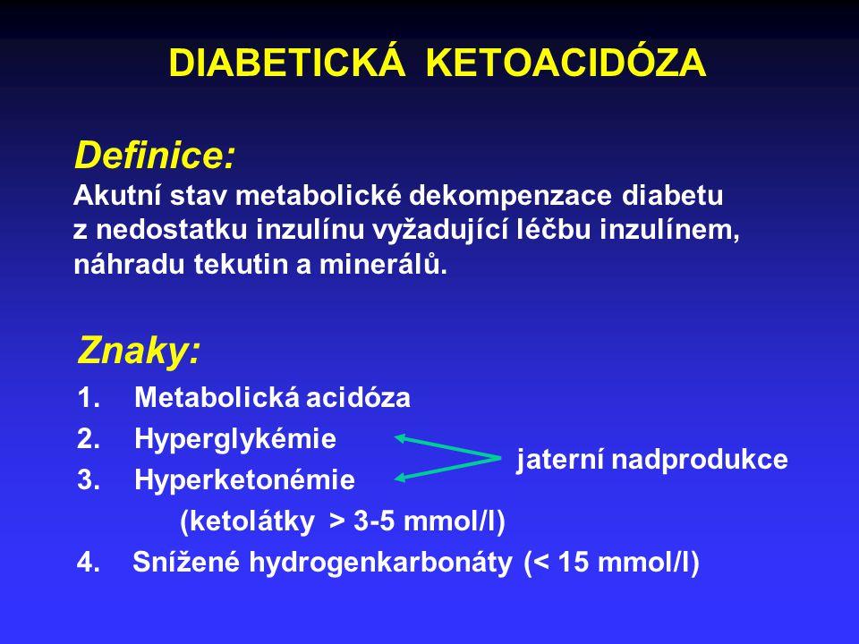 DIABETICKÁ KETOACIDÓZA Definice: Akutní stav metabolické dekompenzace diabetu z nedostatku inzulínu vyžadující léčbu inzulínem, náhradu tekutin a minerálů.