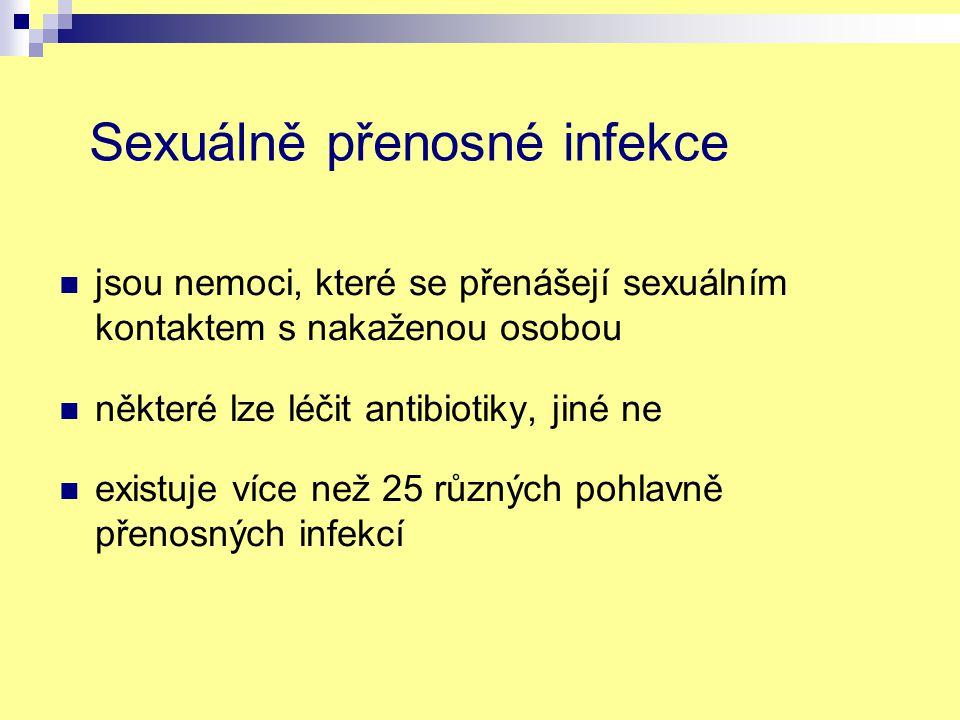 Sexuálně přenosné infekce jsou nemoci, které se přenášejí sexuálním kontaktem s nakaženou osobou některé lze léčit antibiotiky, jiné ne existuje více než 25 různých pohlavně přenosných infekcí
