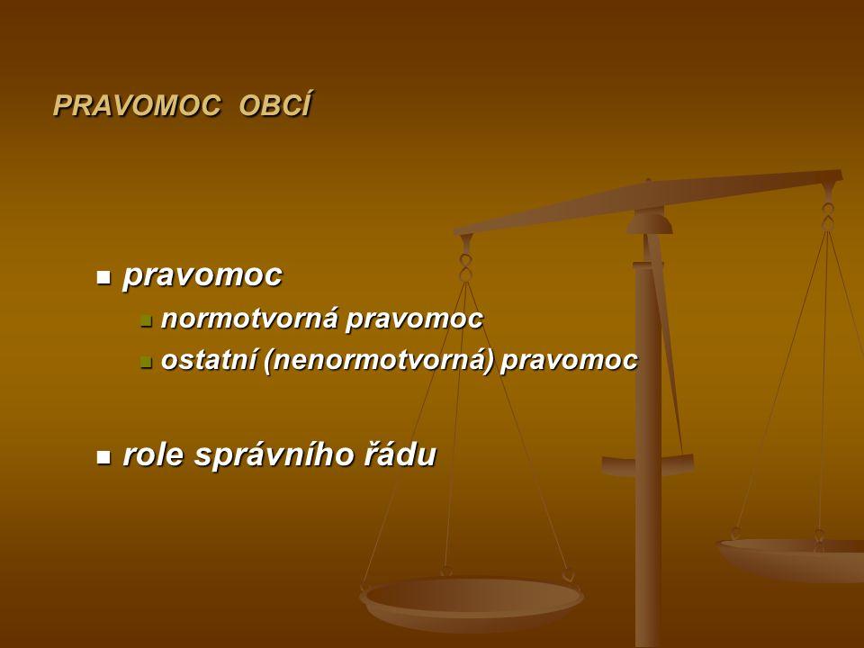 PRAVOMOC OBCÍ pravomoc pravomoc normotvorná pravomoc normotvorná pravomoc ostatní (nenormotvorná) pravomoc ostatní (nenormotvorná) pravomoc role správ