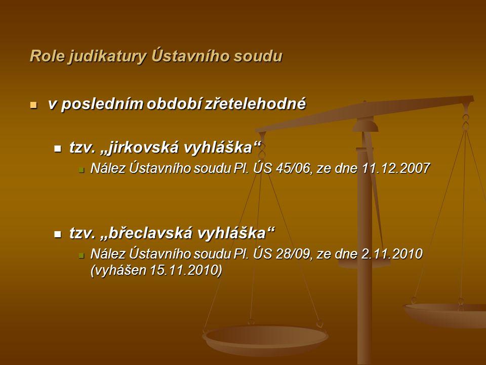 """Role judikatury Ústavního soudu v posledním období zřetelehodné v posledním období zřetelehodné tzv. """"jirkovská vyhláška"""" tzv. """"jirkovská vyhláška"""" Ná"""