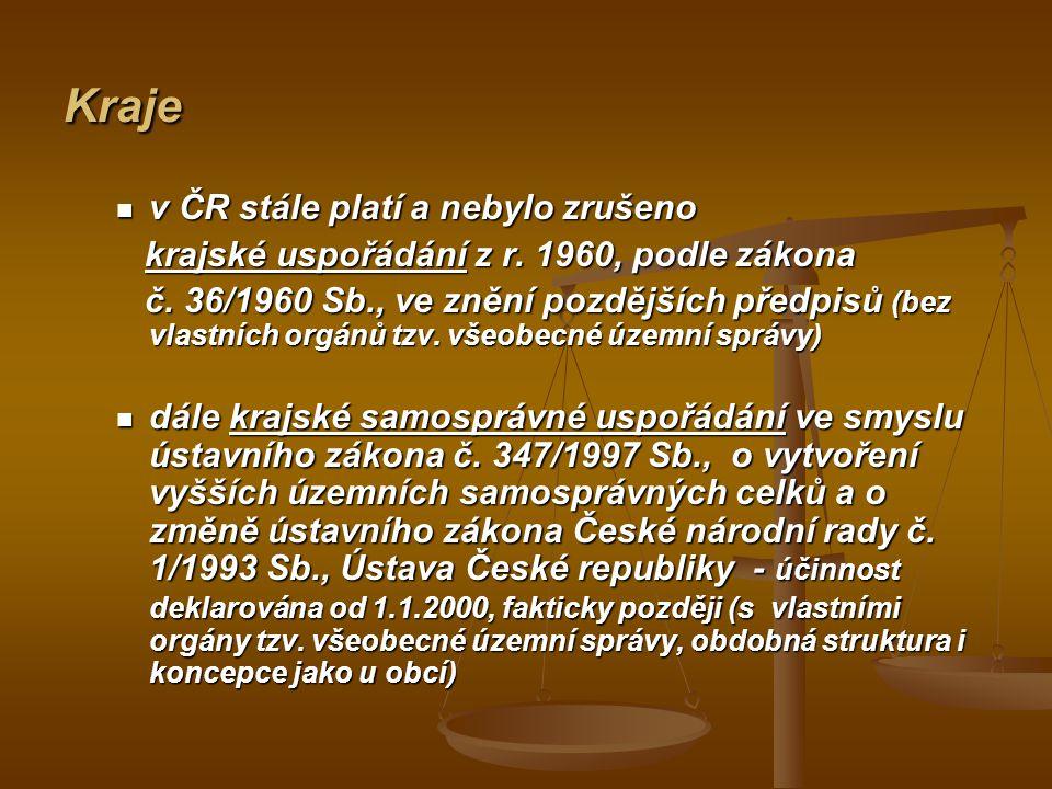 Kraje v ČR stále platí a nebylo zrušeno v ČR stále platí a nebylo zrušeno krajské uspořádání z r. 1960, podle zákona krajské uspořádání z r. 1960, pod