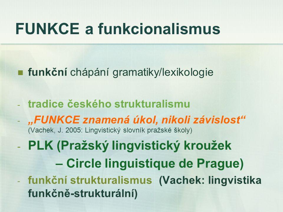 """FUNKCE a funkcionalismus funkční chápání gramatiky/lexikologie - tradice českého strukturalismu - """"FUNKCE znamená úkol, nikoli závislost (Vachek, J."""