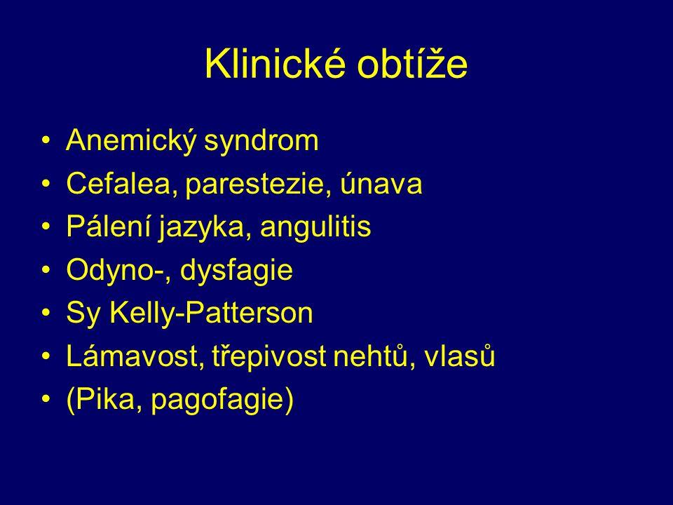Klinické obtíže Anemický syndrom Cefalea, parestezie, únava Pálení jazyka, angulitis Odyno-, dysfagie Sy Kelly-Patterson Lámavost, třepivost nehtů, vlasů (Pika, pagofagie)