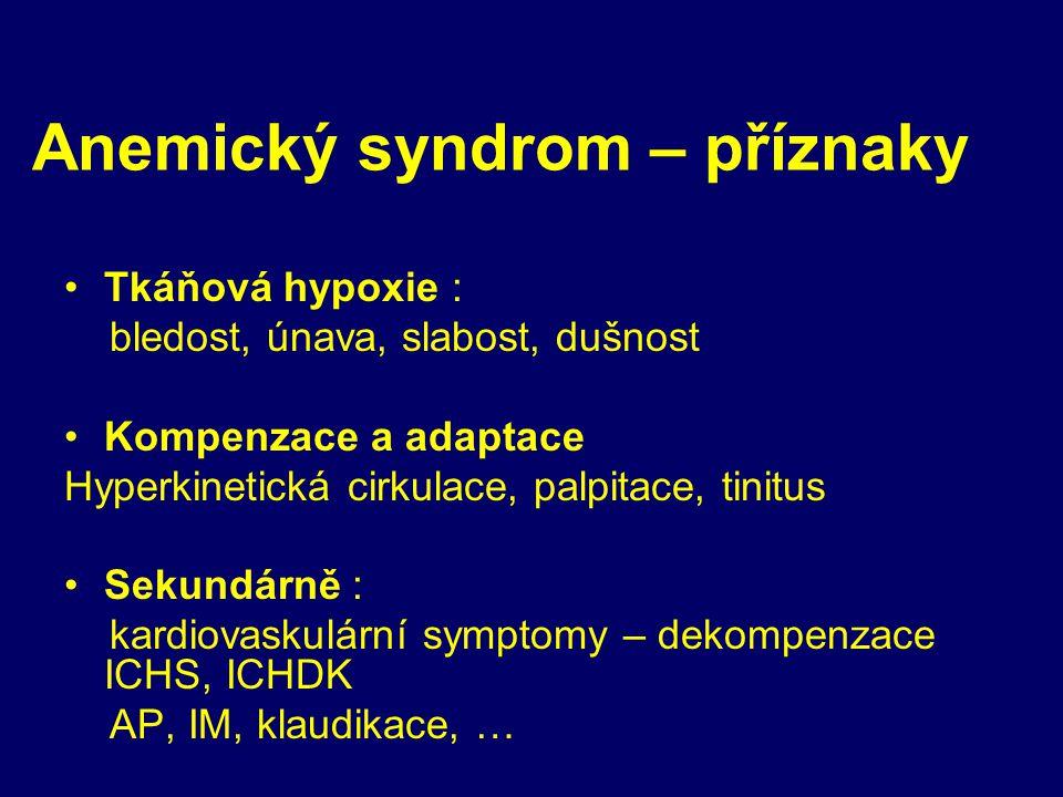 Anemický syndrom – příznaky rom (AS) Tkáňová hypoxie : bledost, únava, slabost, dušnost Kompenzace a adaptace Hyperkinetická cirkulace, palpitace, tinitus Sekundárně : kardiovaskulární symptomy – dekompenzace ICHS, ICHDK AP, IM, klaudikace, …