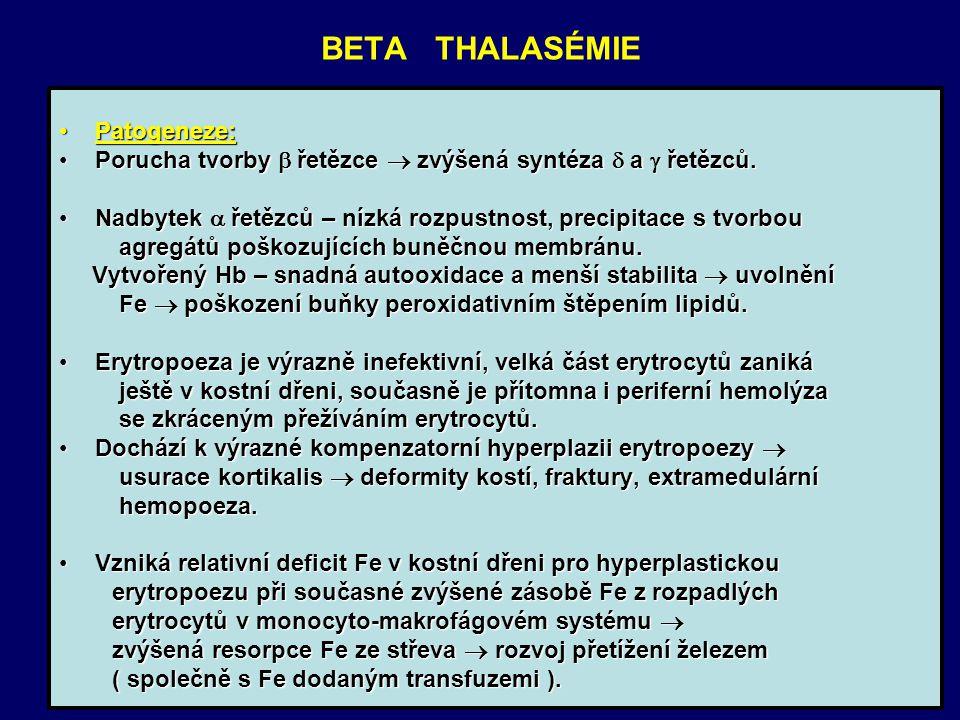 BETA THALASÉMIE Patogeneze:Patogeneze: Porucha tvorby  řetězce  zvýšená syntéza  a  řetězců.Porucha tvorby  řetězce  zvýšená syntéza  a  řetěz