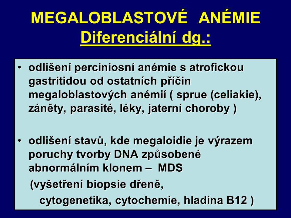 MEGALOBLASTOVÉ ANÉMIE Diferenciální dg.: odlišení perciniosní anémie s atrofickou gastritidou od ostatních příčin megaloblastových anémií ( sprue (celiakie), záněty, parasité, léky, jaterní choroby )odlišení perciniosní anémie s atrofickou gastritidou od ostatních příčin megaloblastových anémií ( sprue (celiakie), záněty, parasité, léky, jaterní choroby ) odlišení stavů, kde megaloidie je výrazem poruchy tvorby DNA způsobené abnormálním klonem – MDSodlišení stavů, kde megaloidie je výrazem poruchy tvorby DNA způsobené abnormálním klonem – MDS (vyšetření biopsie dřeně, (vyšetření biopsie dřeně, cytogenetika, cytochemie, hladina B12 ) cytogenetika, cytochemie, hladina B12 )