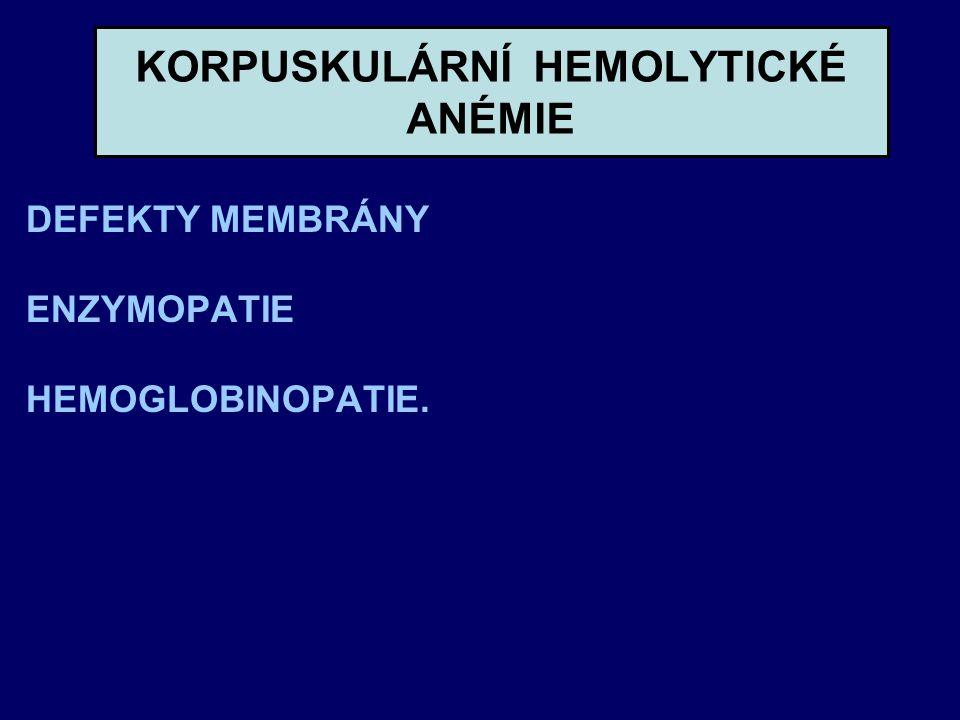 KORPUSKULÁRNÍ HEMOLYTICKÉ ANÉMIE DEFEKTY MEMBRÁNY ENZYMOPATIE HEMOGLOBINOPATIE.