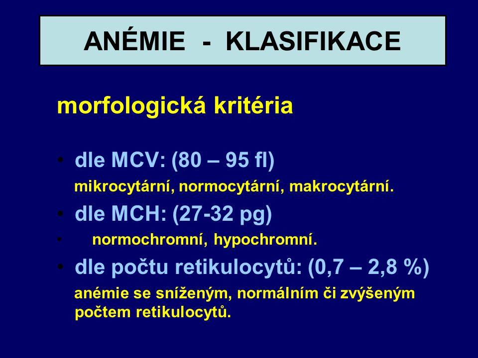 ANÉMIE - KLASIFIKACE morfologická kritéria dle MCV: (80 – 95 fl) mikrocytární, normocytární, makrocytární. dle MCH: (27-32 pg) normochromní, hypochrom