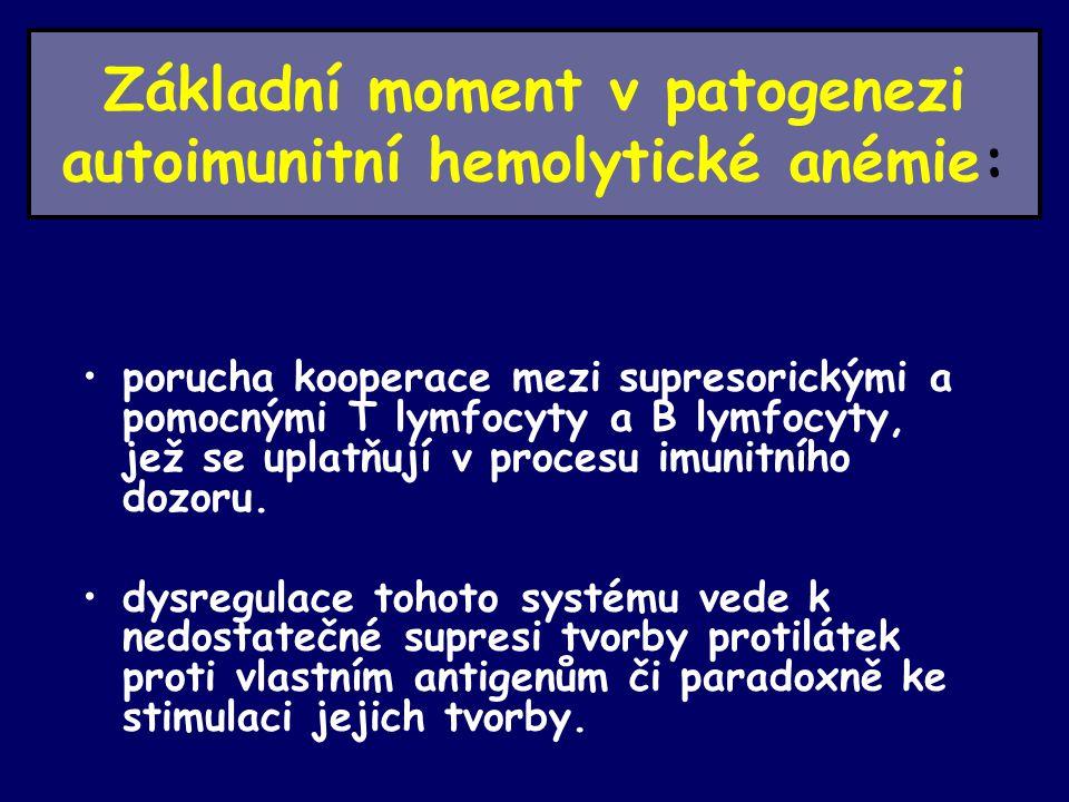 Základní moment v patogenezi autoimunitní hemolytické anémie: porucha kooperace mezi supresorickými a pomocnými T lymfocyty a B lymfocyty, jež se uplatňují v procesu imunitního dozoru.