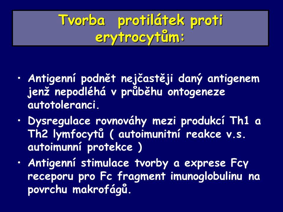 Tvorba protilátek proti erytrocytům: Antigenní podnět nejčastěji daný antigenem jenž nepodléhá v průběhu ontogeneze autotoleranci.