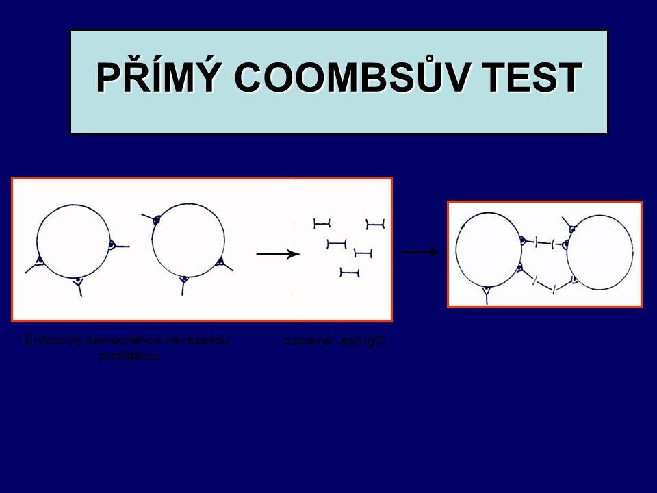 PŘÍMÝ COOMBSŮV TEST PŘÍMÝ COOMBSŮV TEST dodáme: anti IgG Erytrocyty nemocného s navázanou protilátkou