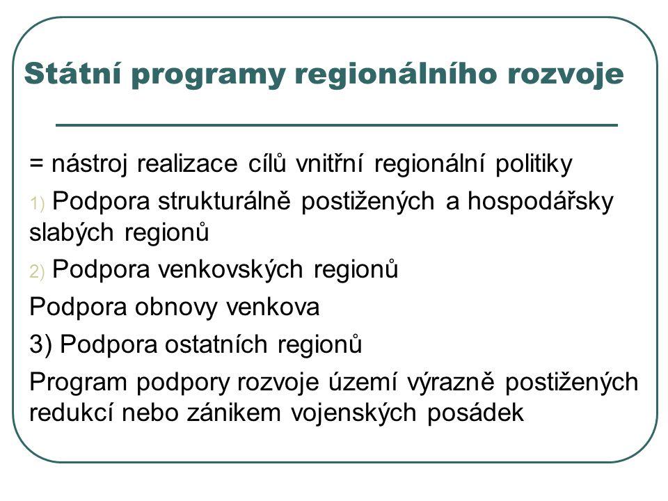 Státní programy regionálního rozvoje = nástroj realizace cílů vnitřní regionální politiky 1) Podpora strukturálně postižených a hospodářsky slabých re
