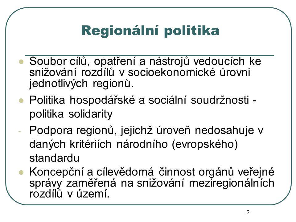 Regionální politika Soubor cílů, opatření a nástrojů vedoucích ke snižování rozdílů v socioekonomické úrovni jednotlivých regionů. Politika hospodářsk