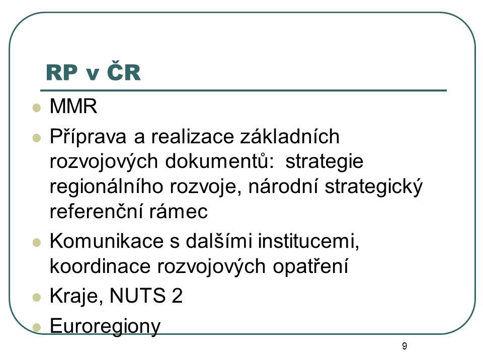RP v ČR MMR Příprava a realizace základních rozvojových dokumentů: strategie regionálního rozvoje, národní strategický referenční rámec Komunikace s d
