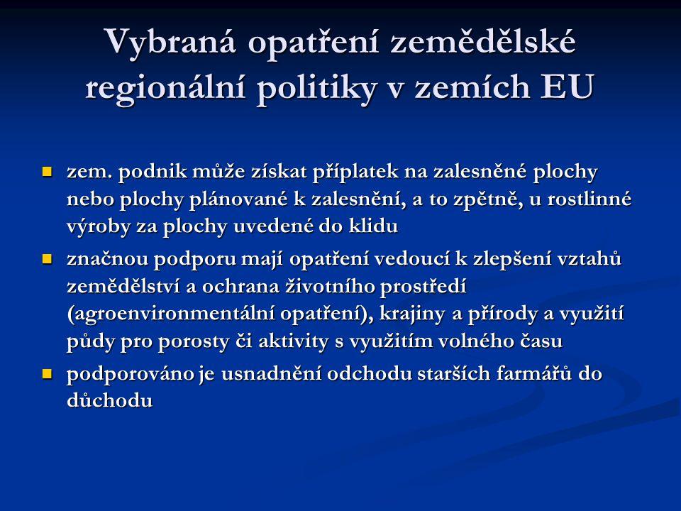 Vybraná opatření zemědělské regionální politiky v zemích EU zem. podnik může získat příplatek na zalesněné plochy nebo plochy plánované k zalesnění, a