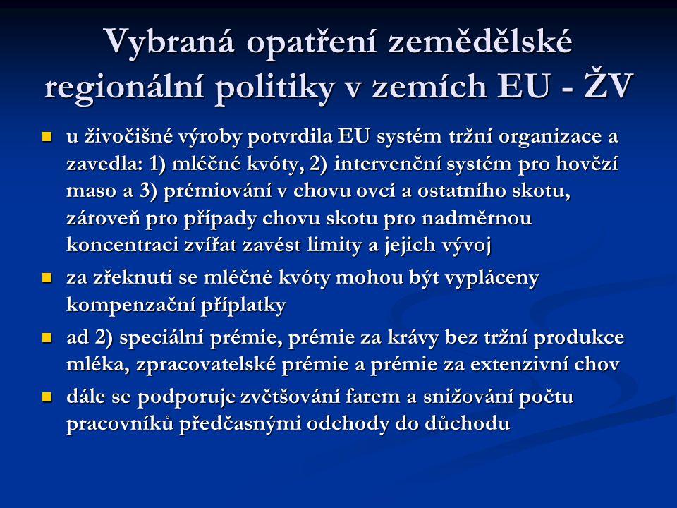 Vybraná opatření zemědělské regionální politiky v zemích EU - ŽV u živočišné výroby potvrdila EU systém tržní organizace a zavedla: 1) mléčné kvóty, 2) intervenční systém pro hovězí maso a 3) prémiování v chovu ovcí a ostatního skotu, zároveň pro případy chovu skotu pro nadměrnou koncentraci zvířat zavést limity a jejich vývoj u živočišné výroby potvrdila EU systém tržní organizace a zavedla: 1) mléčné kvóty, 2) intervenční systém pro hovězí maso a 3) prémiování v chovu ovcí a ostatního skotu, zároveň pro případy chovu skotu pro nadměrnou koncentraci zvířat zavést limity a jejich vývoj za zřeknutí se mléčné kvóty mohou být vypláceny kompenzační příplatky za zřeknutí se mléčné kvóty mohou být vypláceny kompenzační příplatky ad 2) speciální prémie, prémie za krávy bez tržní produkce mléka, zpracovatelské prémie a prémie za extenzivní chov ad 2) speciální prémie, prémie za krávy bez tržní produkce mléka, zpracovatelské prémie a prémie za extenzivní chov dále se podporuje zvětšování farem a snižování počtu pracovníků předčasnými odchody do důchodu dále se podporuje zvětšování farem a snižování počtu pracovníků předčasnými odchody do důchodu