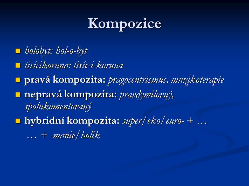 Kompozice holobyt: hol-o-byt holobyt: hol-o-byt tisícikoruna: tisíc-i-koruna tisícikoruna: tisíc-i-koruna pravá kompozita: pragocentrismus, muzikoterapie pravá kompozita: pragocentrismus, muzikoterapie nepravá kompozita: pravdymilovný, spolukomentovaný nepravá kompozita: pravdymilovný, spolukomentovaný hybridní kompozita: super/eko/euro- + … hybridní kompozita: super/eko/euro- + … … + -manie/holik … + -manie/holik
