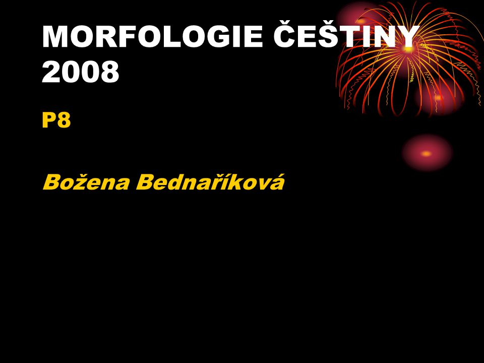 MORFOLOGIE ČEŠTINY 2008 P8 Božena Bednaříková