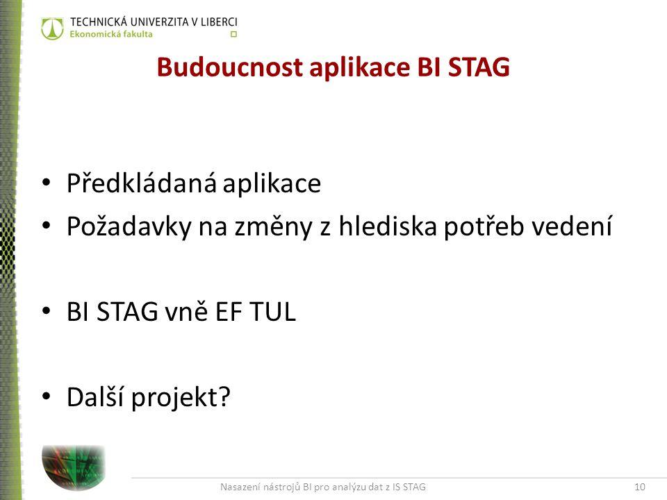 Nasazení nástrojů BI pro analýzu dat z IS STAG10 Budoucnost aplikace BI STAG Předkládaná aplikace Požadavky na změny z hlediska potřeb vedení BI STAG vně EF TUL Další projekt?
