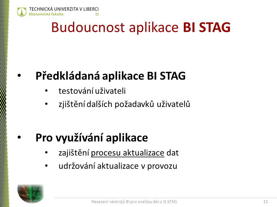 Nasazení nástrojů BI pro analýzu dat z IS STAG11 Budoucnost aplikace BI STAG Předkládaná aplikace BI STAG testování uživateli zjištění dalších požadavků uživatelů Pro využívání aplikace zajištění procesu aktualizace dat udržování aktualizace v provozu