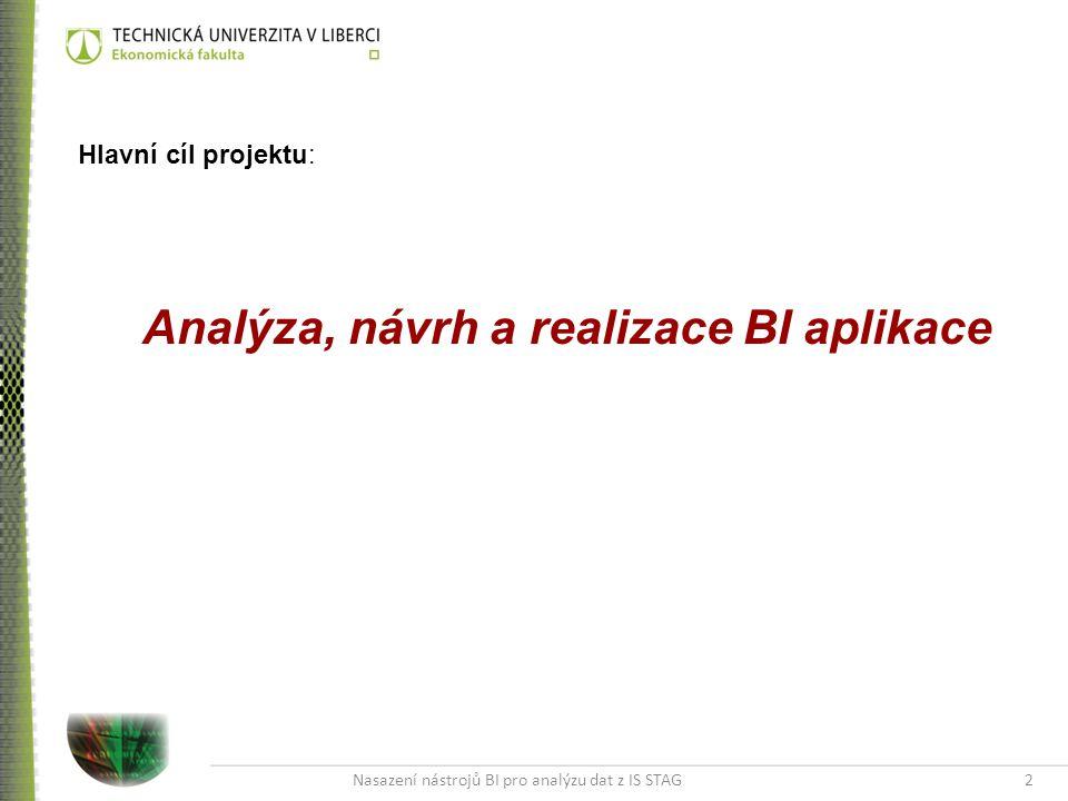 Nasazení nástrojů BI pro analýzu dat z IS STAG2 Hlavní cíl projektu: Analýza, návrh a realizace BI aplikace