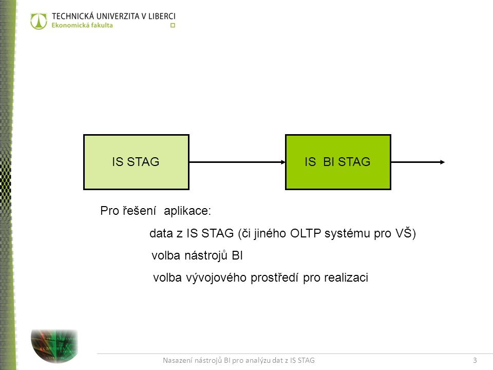 Nasazení nástrojů BI pro analýzu dat z IS STAG3 IS STAGIS BI STAG Pro řešení aplikace: data z IS STAG (či jiného OLTP systému pro VŠ) volba nástrojů BI volba vývojového prostředí pro realizaci