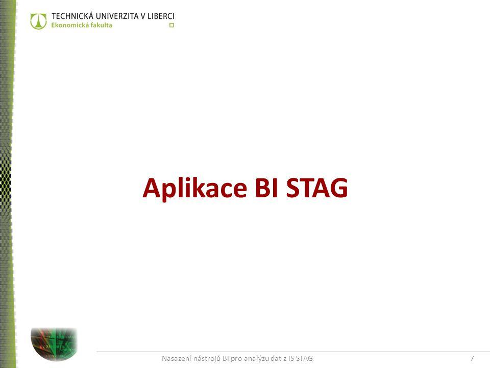 Nasazení nástrojů BI pro analýzu dat z IS STAG7 Aplikace BI STAG