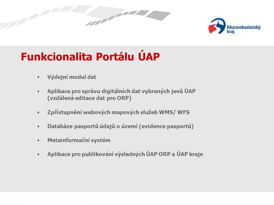 Funkcionalita Portálu ÚAP Výdejní modul dat Aplikace pro správu digitálních dat vybraných jevů ÚAP (vzdálená editace dat pro ORP) Zpřístupnění webových mapových služeb WMS/ WFS Databáze pasportů údajů o území (evidence pasportů) Metainformační systém Aplikace pro publikování výsledných ÚAP ORP a ÚAP kraje
