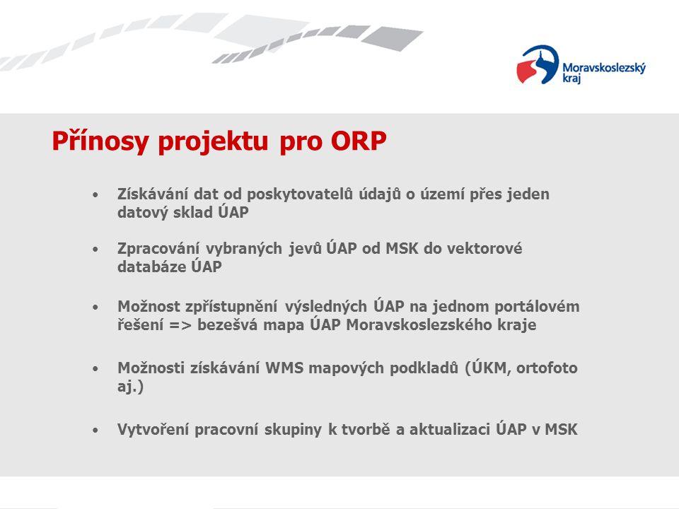 Přínosy projektu pro ORP Získávání dat od poskytovatelů údajů o území přes jeden datový sklad ÚAP Zpracování vybraných jevů ÚAP od MSK do vektorové databáze ÚAP Možnost zpřístupnění výsledných ÚAP na jednom portálovém řešení => bezešvá mapa ÚAP Moravskoslezského kraje Možnosti získávání WMS mapových podkladů (ÚKM, ortofoto aj.) Vytvoření pracovní skupiny k tvorbě a aktualizaci ÚAP v MSK