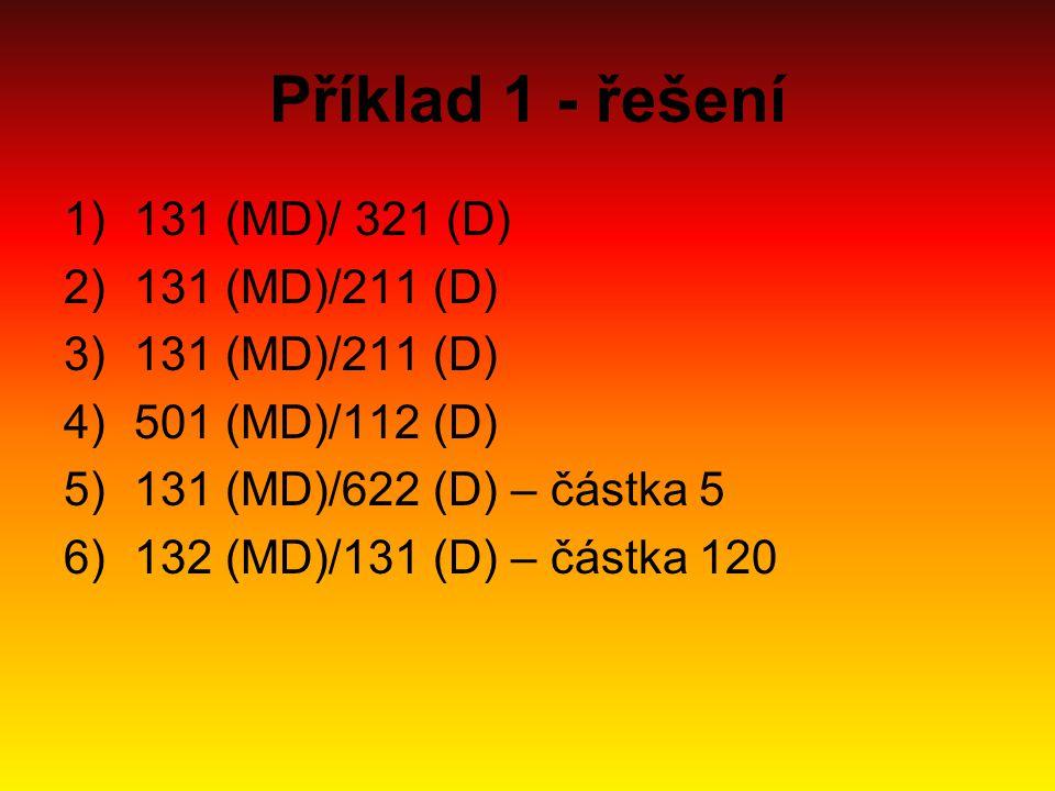 Příklad 1 - řešení 1)131 (MD)/ 321 (D) 2)131 (MD)/211 (D) 3)131 (MD)/211 (D) 4)501 (MD)/112 (D) 5)131 (MD)/622 (D) – částka 5 6)132 (MD)/131 (D) – čás