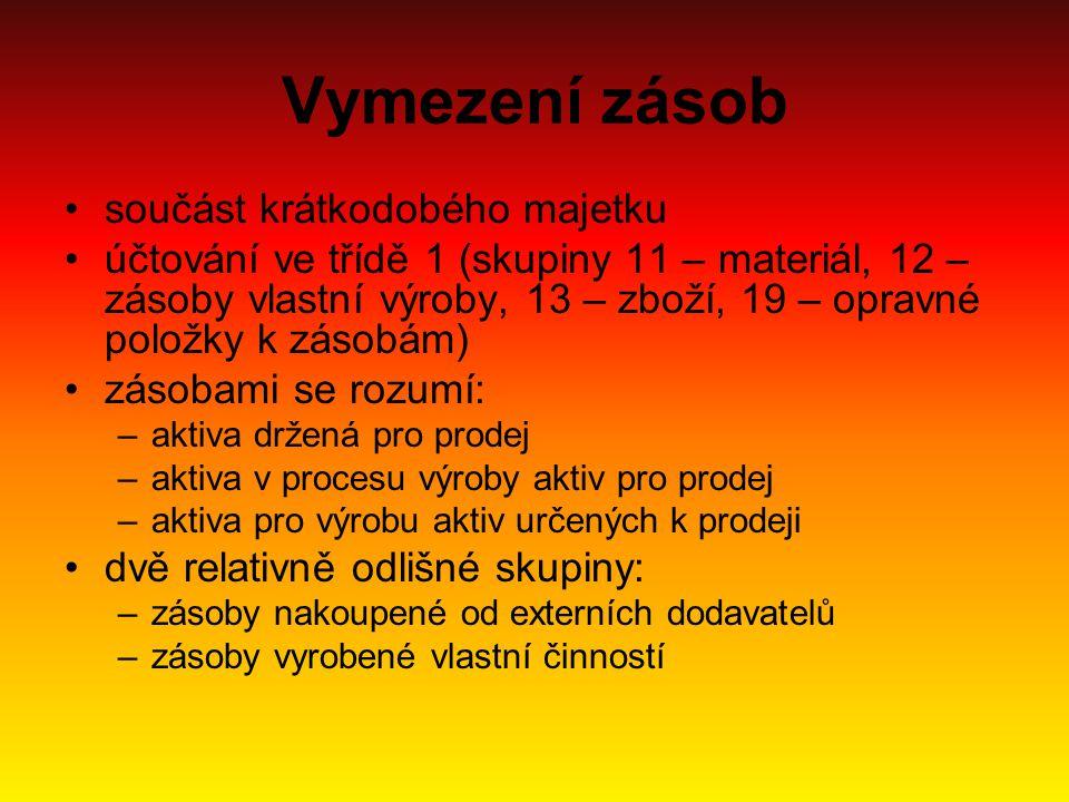 Vymezení zásob součást krátkodobého majetku účtování ve třídě 1 (skupiny 11 – materiál, 12 – zásoby vlastní výroby, 13 – zboží, 19 – opravné položky k