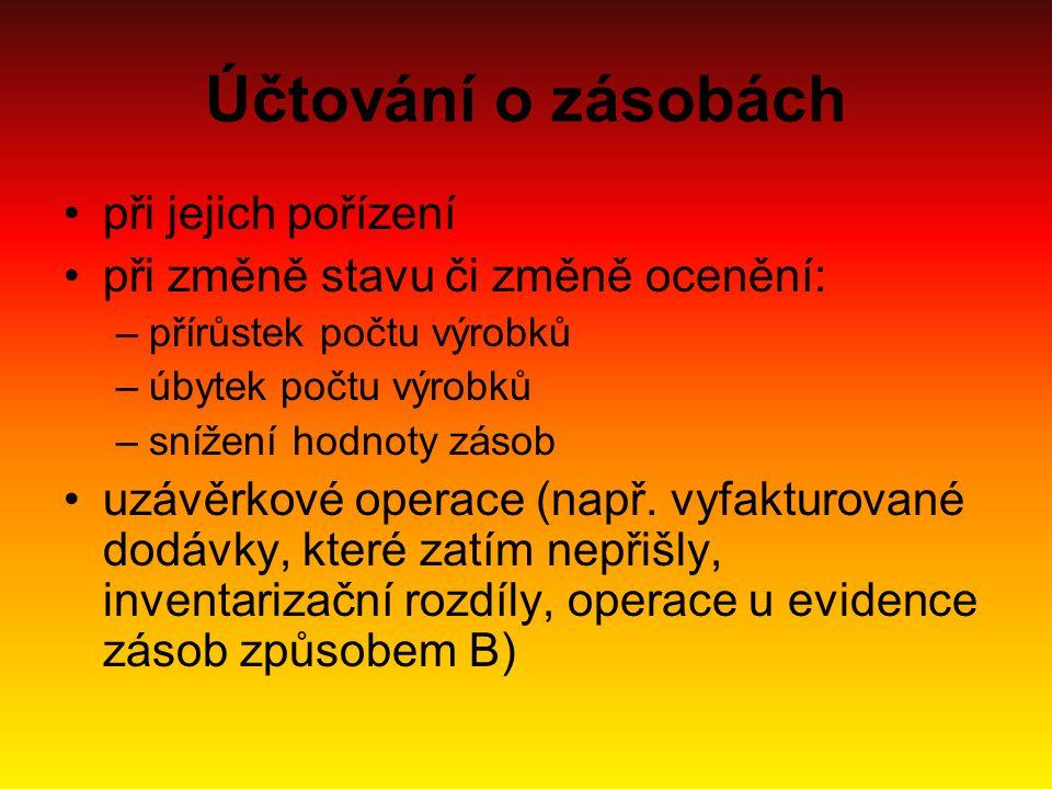 Evidence zásob v ČR je možné použít dva systémy: –průběžný (tzv.
