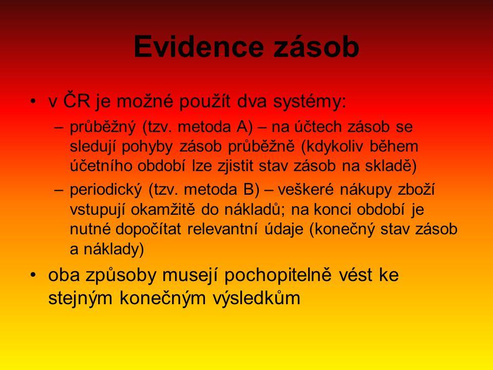 Evidence zásob v ČR je možné použít dva systémy: –průběžný (tzv. metoda A) – na účtech zásob se sledují pohyby zásob průběžně (kdykoliv během účetního