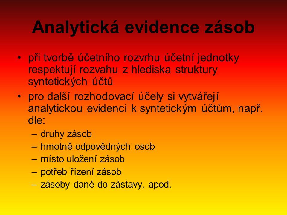 Analytická evidence zásob při tvorbě účetního rozvrhu účetní jednotky respektují rozvahu z hlediska struktury syntetických účtů pro další rozhodovací