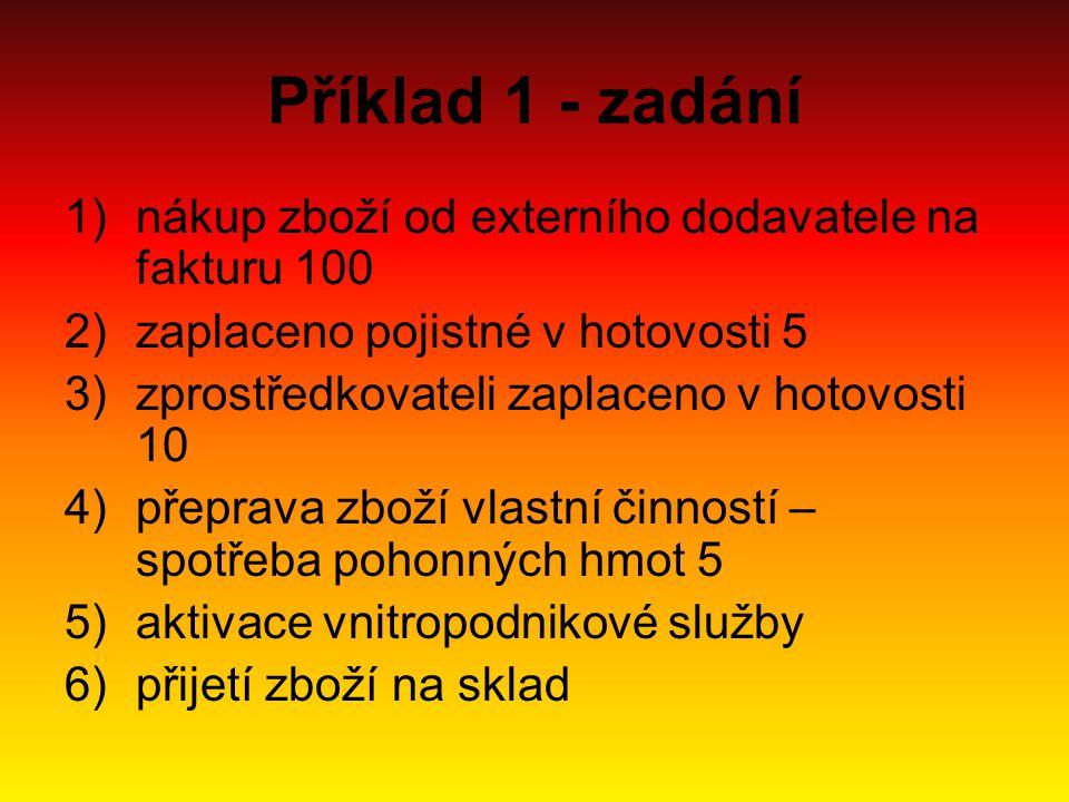 Příklad 1 - řešení 1)131 (MD)/ 321 (D) 2)131 (MD)/211 (D) 3)131 (MD)/211 (D) 4)501 (MD)/112 (D) 5)131 (MD)/622 (D) – částka 5 6)132 (MD)/131 (D) – částka 120