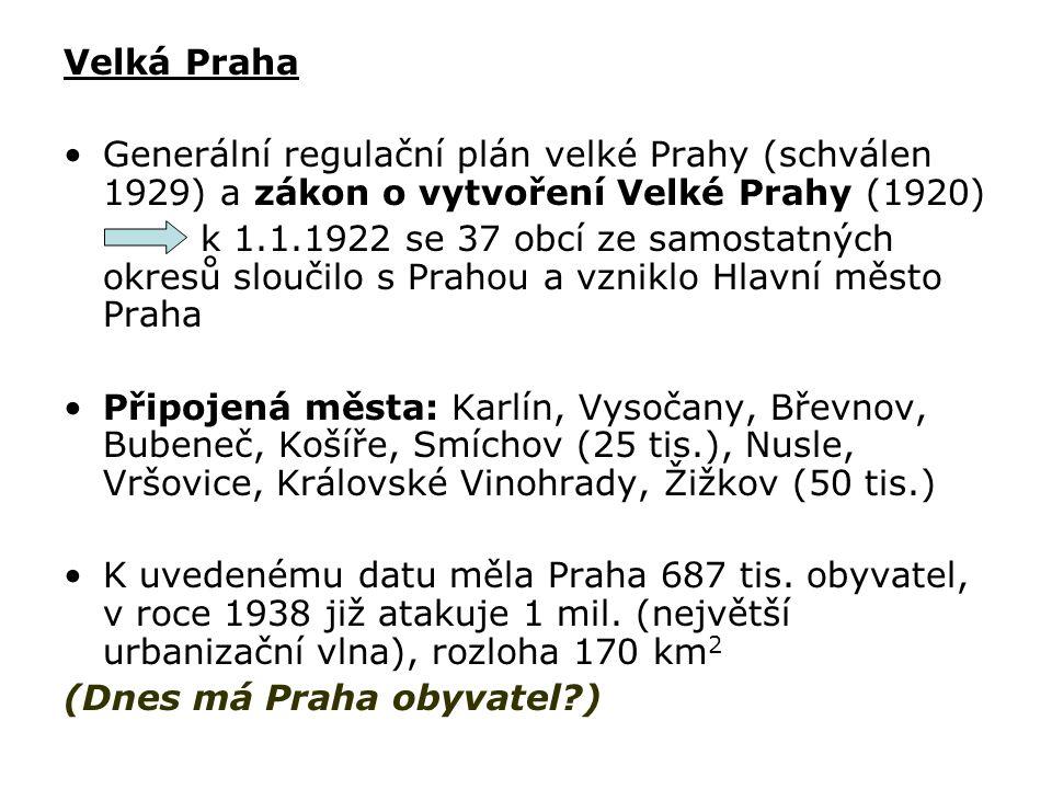 Velká Praha Generální regulační plán velké Prahy (schválen 1929) a zákon o vytvoření Velké Prahy (1920) k 1.1.1922 se 37 obcí ze samostatných okresů s