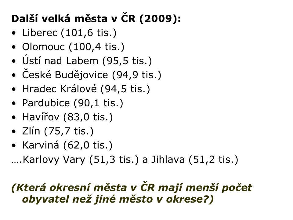 Další velká města v ČR (2009): Liberec (101,6 tis.) Olomouc (100,4 tis.) Ústí nad Labem (95,5 tis.) České Budějovice (94,9 tis.) Hradec Králové (94,5