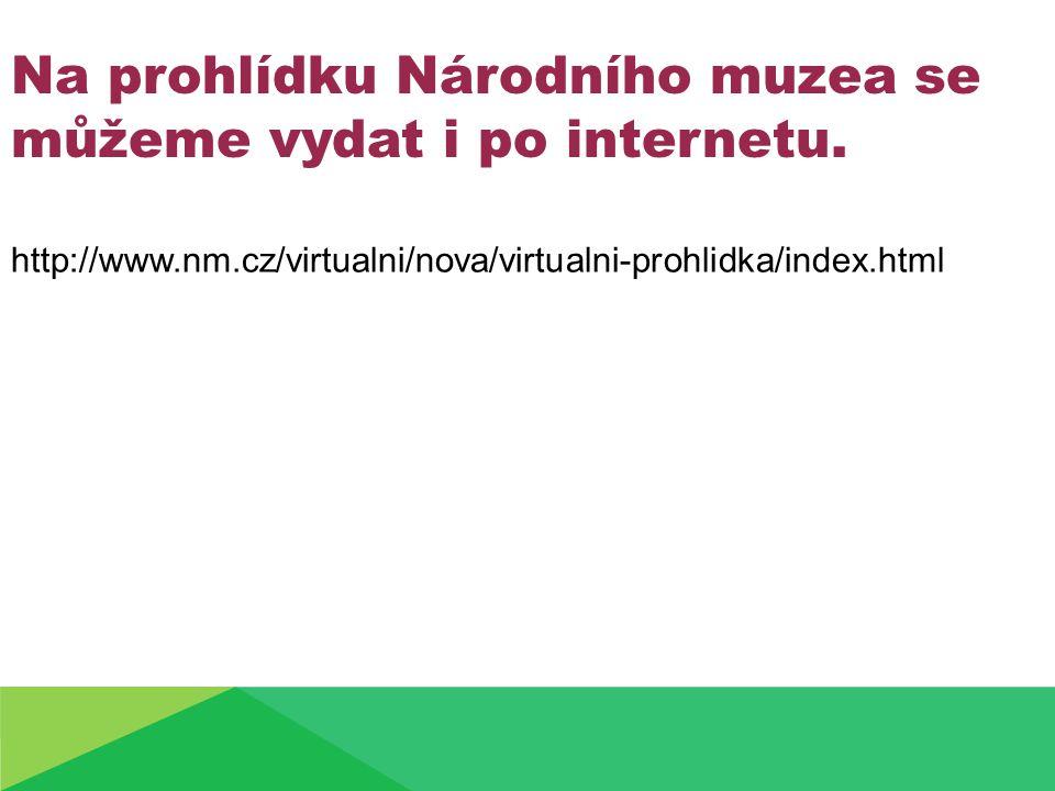 http://www.nm.cz/virtualni/nova/virtualni-prohlidka/index.html Na prohlídku Národního muzea se můžeme vydat i po internetu.