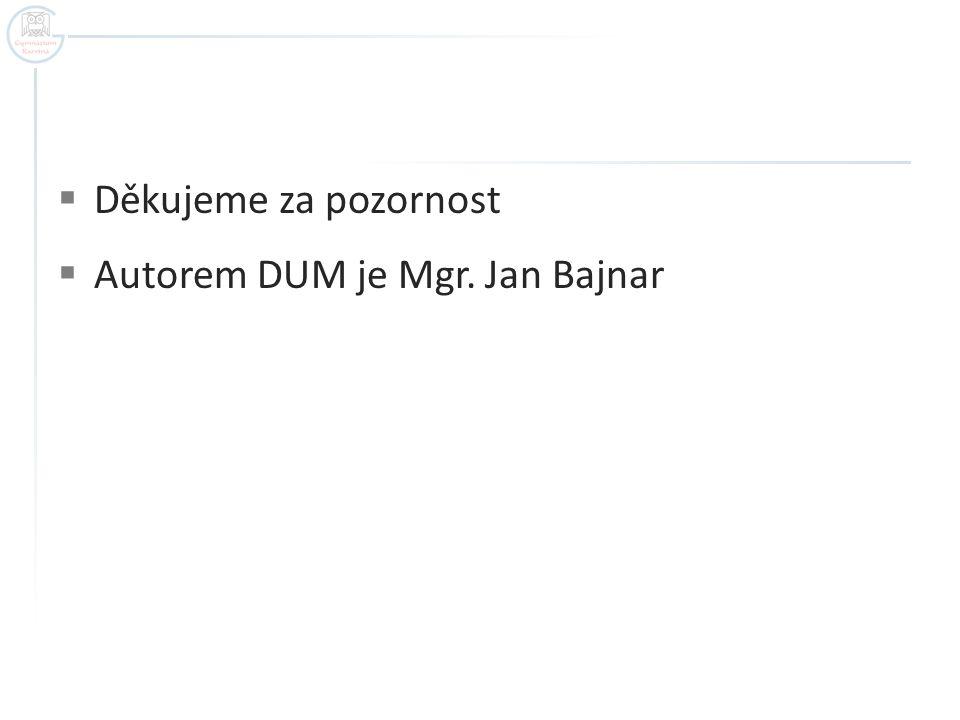  Děkujeme za pozornost  Autorem DUM je Mgr. Jan Bajnar