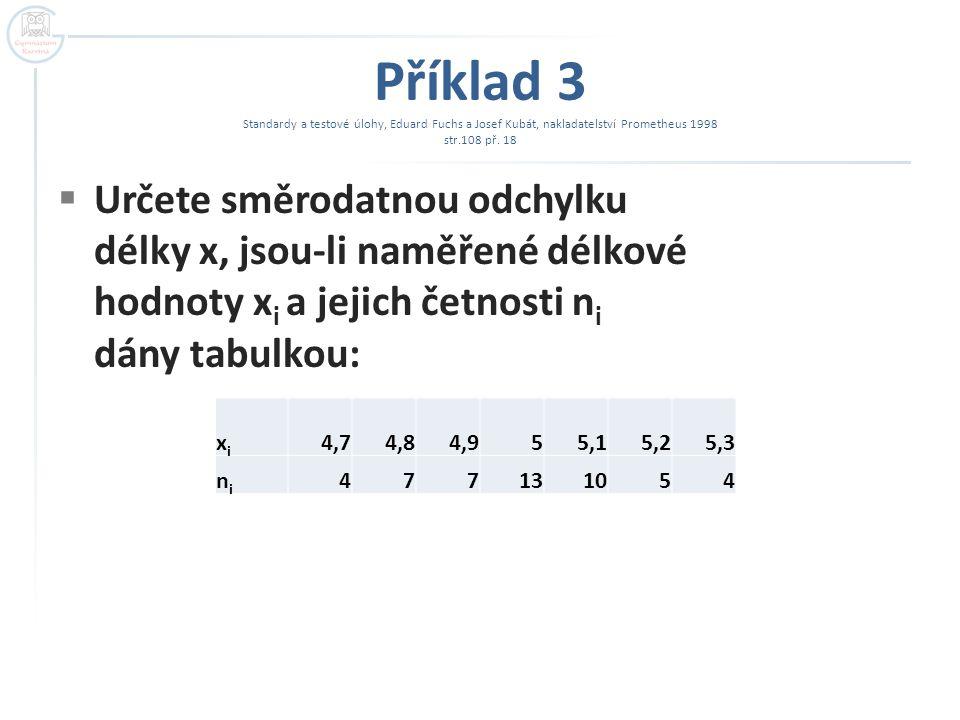 Příklad 3  Tabulka hodnot: xixi 4,74,84,955,15,25,3 nini 477131054 Σ = 50 x i.
